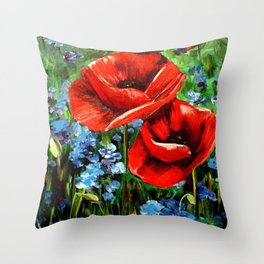 Red Poppies in Field Throw Pillow
