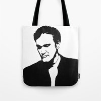 tarantino Tote Bags featuring Quentin Tarantino  by Carolyn Campbell