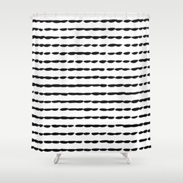Black Ink Brush Dash Lines Shower Curtain