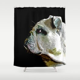 english bulldog dog vector art Shower Curtain