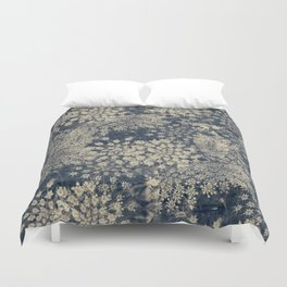 Dreamy Old Lace Flower and Navy Blue Denim Floral Duvet Cover