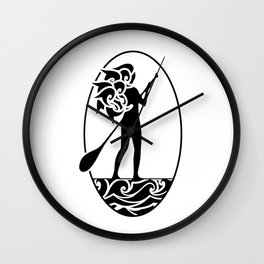 Paddle Boarding Woman with Wavy Hair Wall Clock