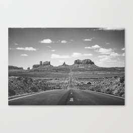 On the Open Road - Monument Valley - b/w Canvas Print