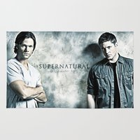 dean winchester Area & Throw Rugs featuring Supernatural - Sam & Dean Winchester by ElvisTR