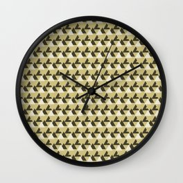Gold and White Abstract Triangles Geometric Pattern Wall Clock