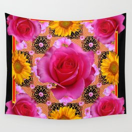 Fuchsia Pink Rose Patterns Sunflower Floral Black Art Wall Tapestry