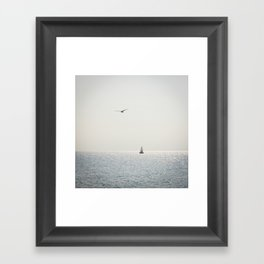 Fly over the sea Framed Art Print