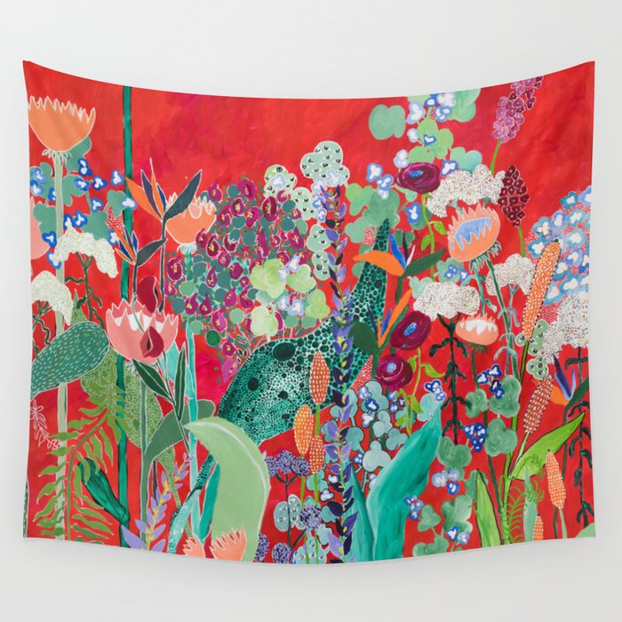 Red floral Jungle Garden Botanical featuring Proteas, Reeds, Eucalyptus, Ferns and Birds of Paradise Wall Tapestry