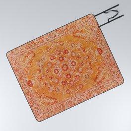 N78 - Orange Antique Oriental Berber Moroccan Style Carpet Design. Picnic Blanket