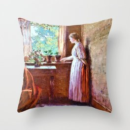 The Girl by the Window - Theodore Clement Steele Throw Pillow