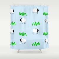 sheep Shower Curtains featuring Sheep by Jessica Slater Design & Illustration
