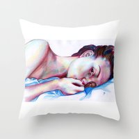instagram Throw Pillows featuring Instagram Portrait by Debbie Chessell