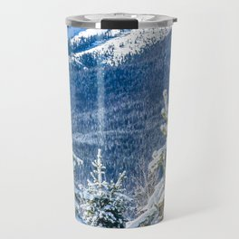 Powder Forest // Through the Trees Blue Snow Cap Mountain Backdrop Travel Mug
