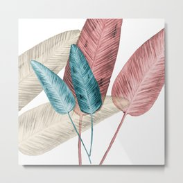 Watercolor banana leaves Metal Print