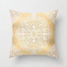 White Gouache Doodle on Gold Paint Throw Pillow