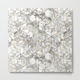 White marble geomeric pattern in gold frame Metal Print