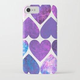 Mod Purple & Blue Grungy Hearts Design iPhone Case
