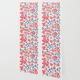 Cherry Blossoms – Melon & Navy Palette Wallpaper