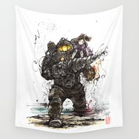 bioshock Wall Tapestries featuring Bioshock Subject Delta and Little Sister by mycks