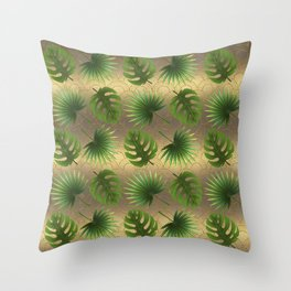 Tropical Leaves Gold Great Gatsby Throw Pillow