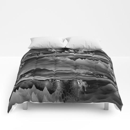 Residual Worlds (b&w) Comforters