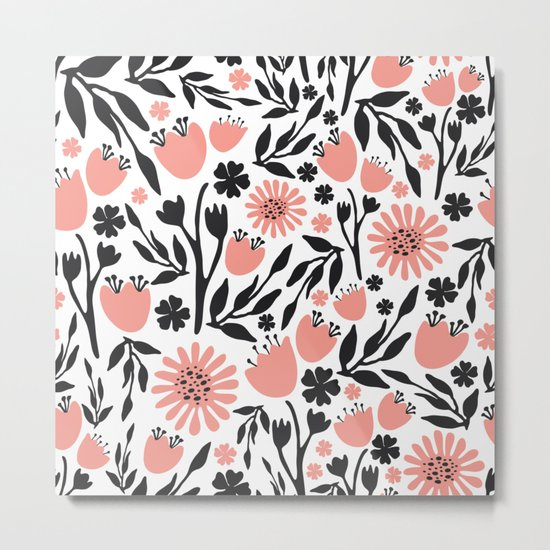 Floral Pattern Dark Gray and Light Coral Metal Print