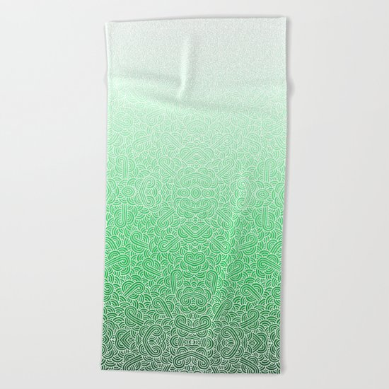 Ombre green and white swirls doodles Beach Towel