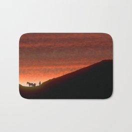 Horses on Edge of Horizon at Sunset Bath Mat