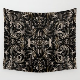 Black Gold Baroque Floral Pattern Wall Tapestry