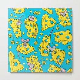 Mice and Swiss Cheese Blue Metal Print