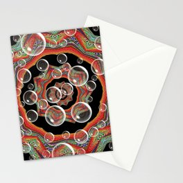 Black Orange Bubbles Stationery Cards