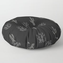 Cactus Pattern Black Floor Pillow