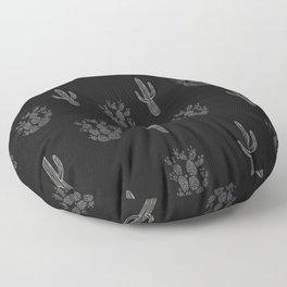 Cactus Pattern Black Floor Pillow