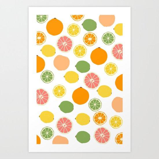 Orange Grapefruit Lemon Lime Citrus Pattern Art Print