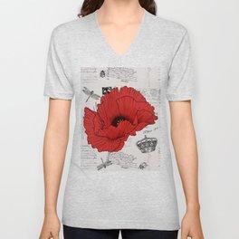Red Poppy French Typography Unisex V-Neck