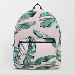 Tropical Palm Leaves Turquoise Green Coral Pink Backpack