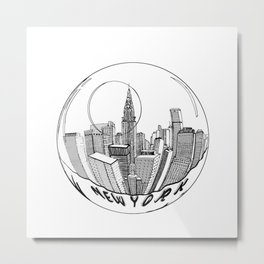 THE CITY of New York in a Suspended Bowl . Artwork Metal Print