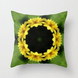 Large Yellow Wildflower Kaleidoscope Art 3 Throw Pillow