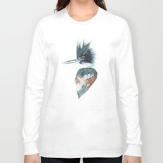 Kingfisher Watercolour Portrait Long Sleeve T-shirt