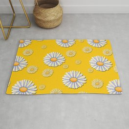 Tossed White Daisies Yellow Background Rug