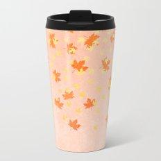 My favourite colour: Gold OCTOBER - Indian Summer - Rose Gold autumnal leaves Metal Travel Mug