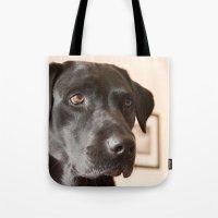 labrador Tote Bags featuring Black Labrador   by Simon's Photography