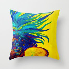 Blue Pineapple Abstract Throw Pillow