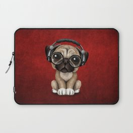 Cute Pug Puppy Dj Wearing Headphones and Glasses on Red Laptop Sleeve
