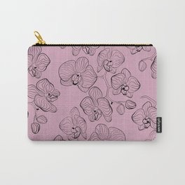Retro . Orchid flowers on a pink background . Carry-All Pouch