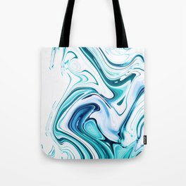 Liquid Marble - aqua & blues Tote Bag