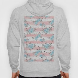 Pink teal watercolor modern stripes floral dots Hoody