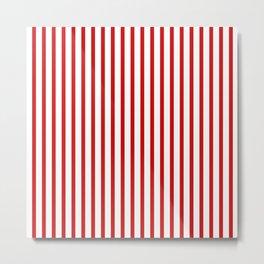 Red & White Vertical Stripes Metal Print
