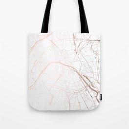 Paris France Minimal Street Map - Rose Gold Glitter Tote Bag