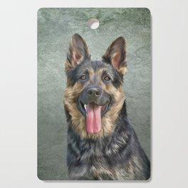 German Shepherd dog. Drawing, illustration funny dog Cutting Board